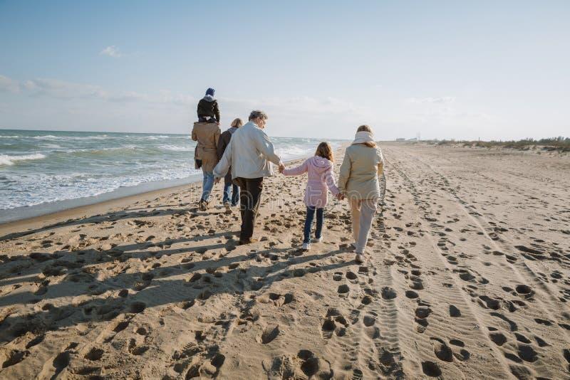 indietro punto di vista dei genitori che trasportano sulle spalle figlio mentre nonni che si tengono per mano con la nipote che c fotografie stock
