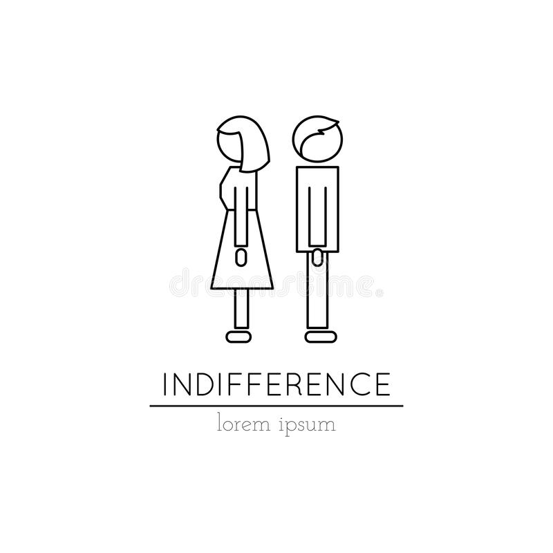 Indifference line icon royalty free illustration