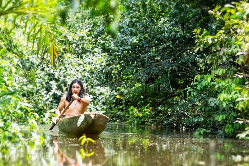 Indigenous Canoe Transportation Amazon stock images