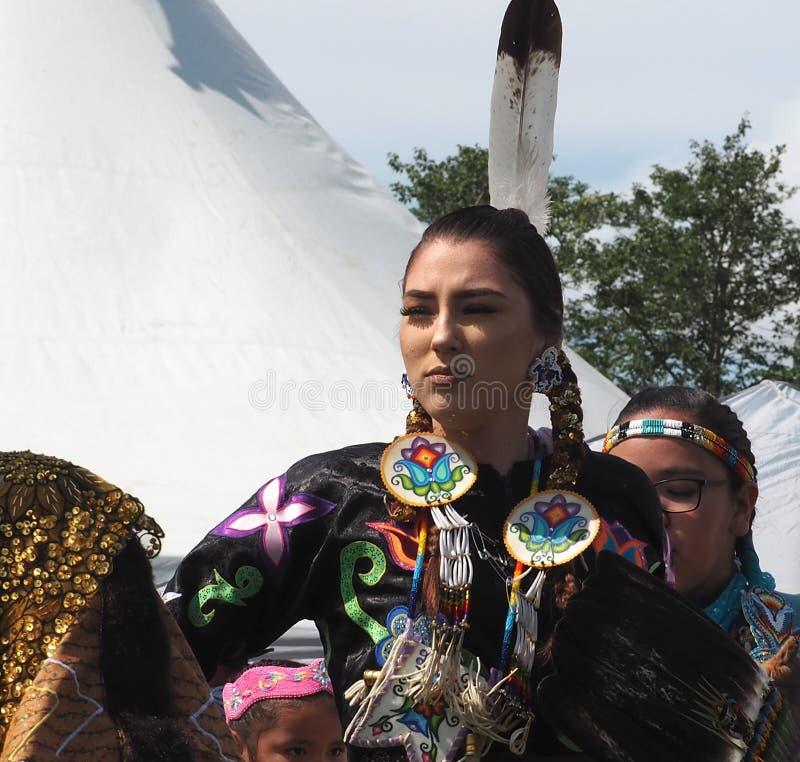 Indigenous Dancers At Edmonton`s Heritage Days stock photography