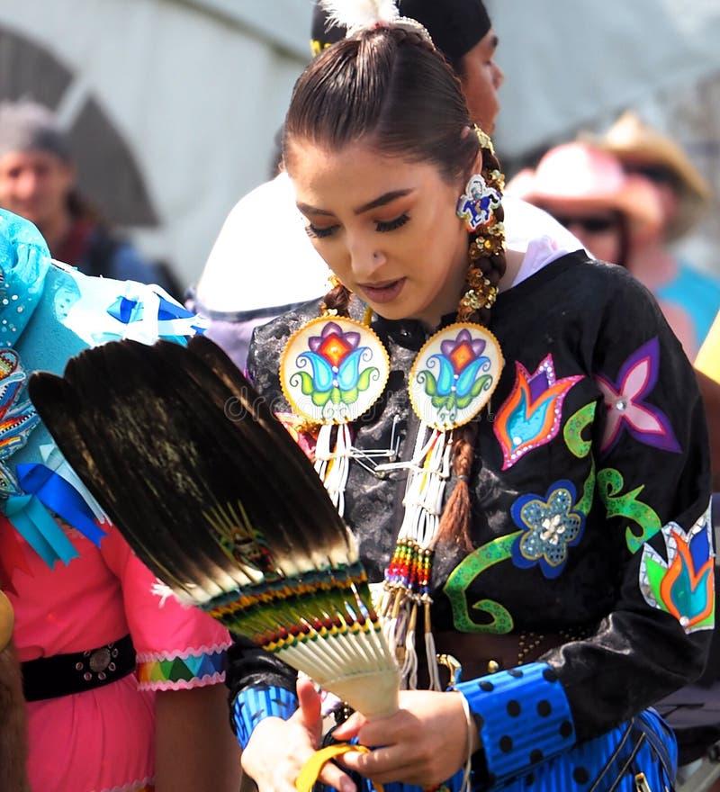 Indigenous Dancers At Edmonton`s Heritage Days stock photos