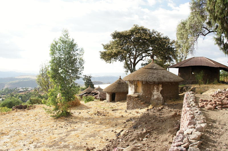 Indigenous dwelling with straw roof in Lalibela stock photo