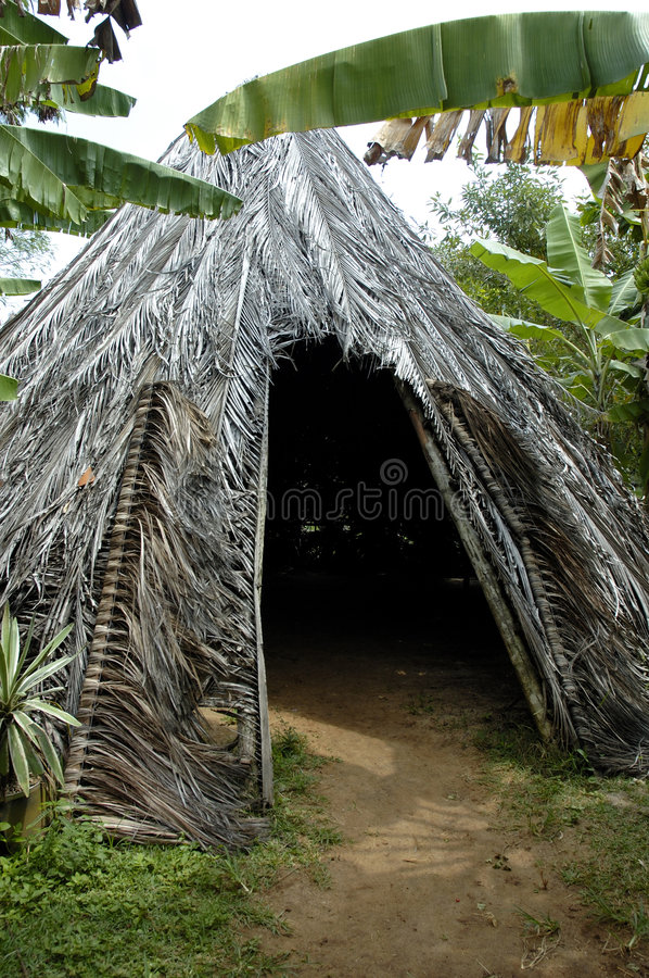 Indigenous house. In the tropical florest stock image