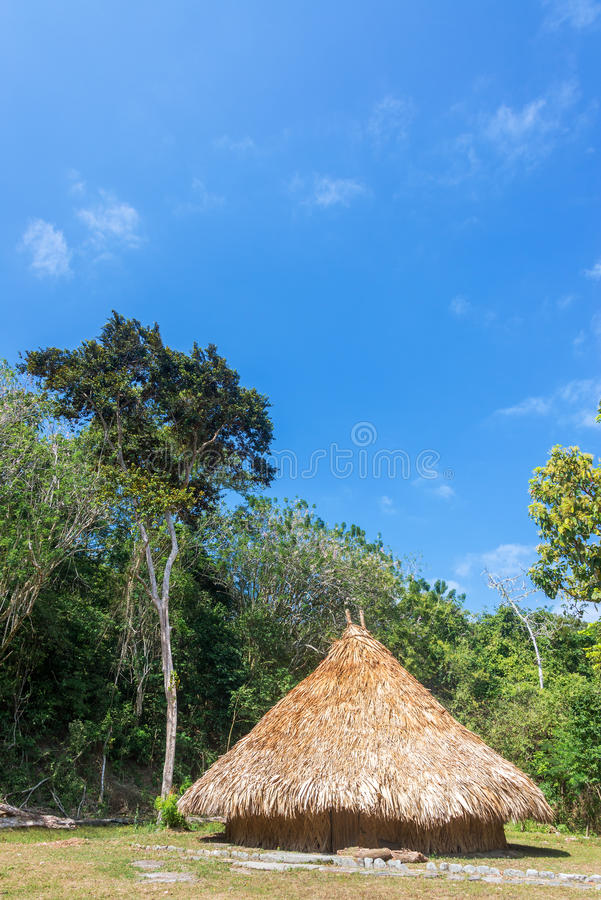 Indigenous Hut. Simple house of a Kogi indian in Tayrona National Park in Colombia stock photo