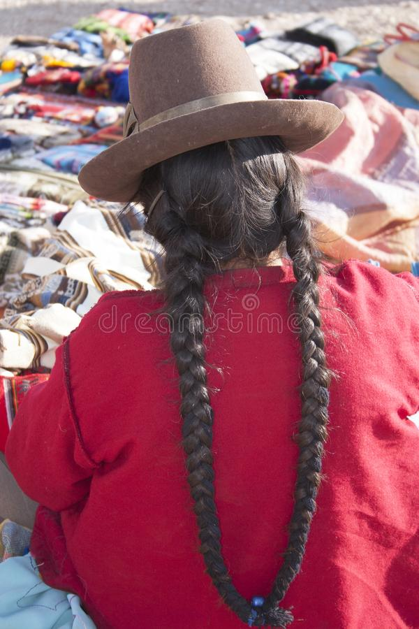 Indigenous Inca woman working with textils in the Chinchero market , Cusco, Peru UNESCO world heritage city stock images