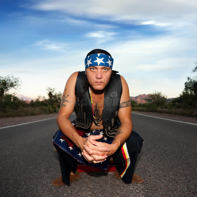 Indigenous Man In The Middle Of A Road Royalty Free Stock Photos