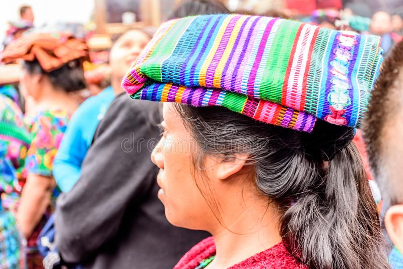 Indigenous Maya woman in traditional head covering, Guatemala stock images