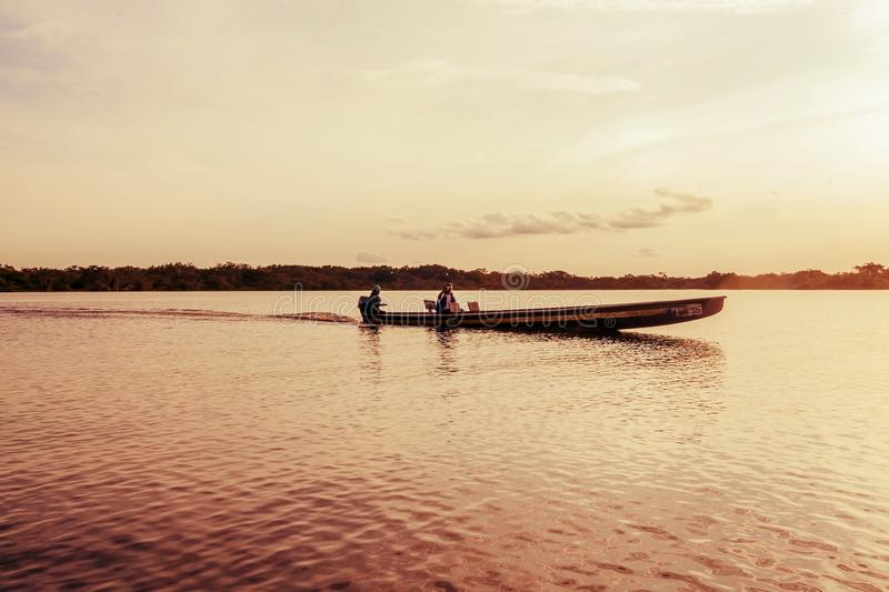 Indigenous People Navigating, South America stock photography