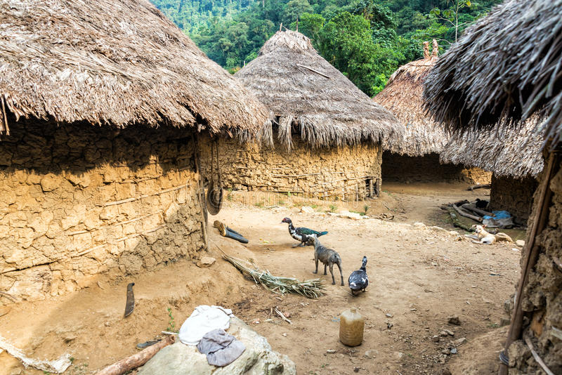 Indigenous Village. Indigenous Kogui village in the Sierra Nevada de Santa Marta in Colombia royalty free stock photo