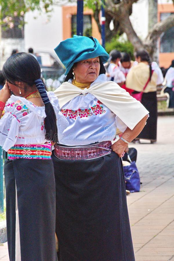 Indigenous people in the park in Cotacachi. Indigenous women in the park on Day of the Dead in Cotacachi, Ecuador stock image