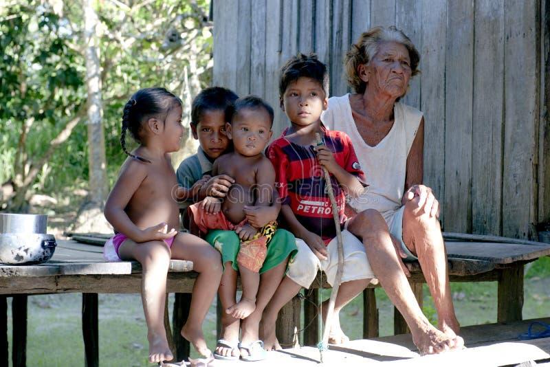 Indigenous Family - Amazonia royalty free stock image