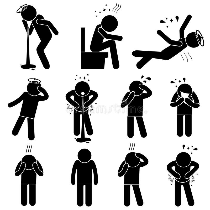 Sick Man Silhouette Poses. Set of Diseases Icons. Vector Illustration. Indigestion Problems, Flu Symptoms, Faint, Vomit, Headache. Set of Diseases Icons. Stick vector illustration