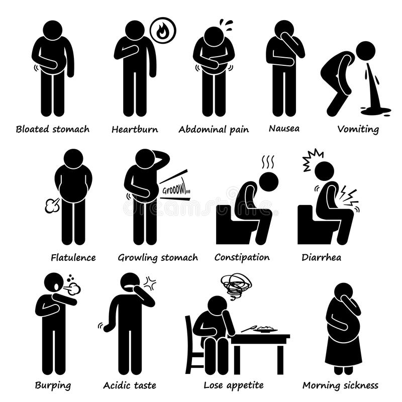 Indigestion Symptoms Problem Clipart. A set of human pictogram representing indigestion symptom and problems. These medical problem can be caused by IBS ( vector illustration