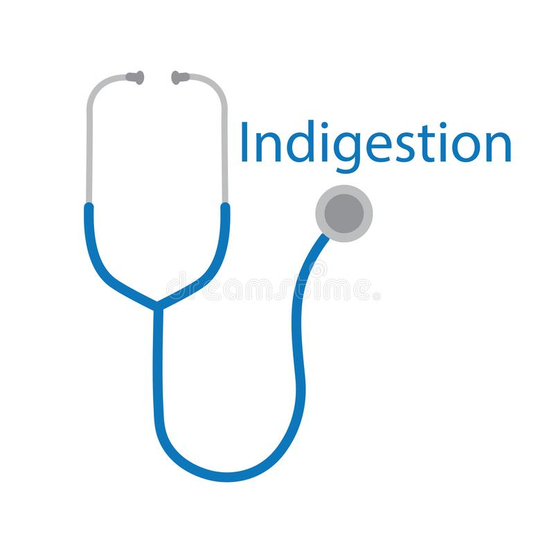 Indigestion word and stethoscope icon. Vector illustration stock illustration