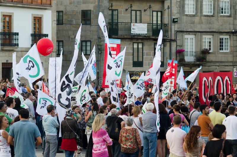 Indignation. PONTEVEDRA - JULY 19: Detail of the manifestation of all unions and associations to protest the social cuts, of the Conservative government, July 19 royalty free stock image