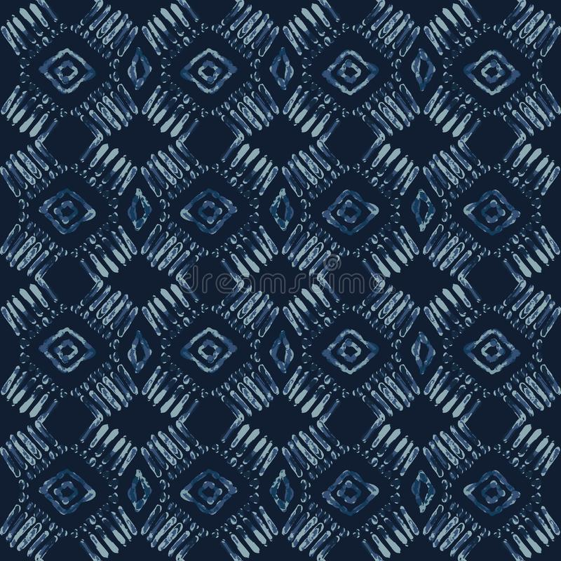 Indigo-Bindungs-Färbungs-Batik-nahtloses Vektor-Muster Handgezogenes Damast-Blau vektor abbildung