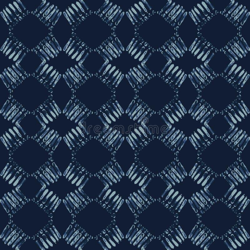 Indigo-Bindungs-Färbungs-Batik-nahtloses Vektor-Muster Handgezogenes organisches Blau lizenzfreie abbildung