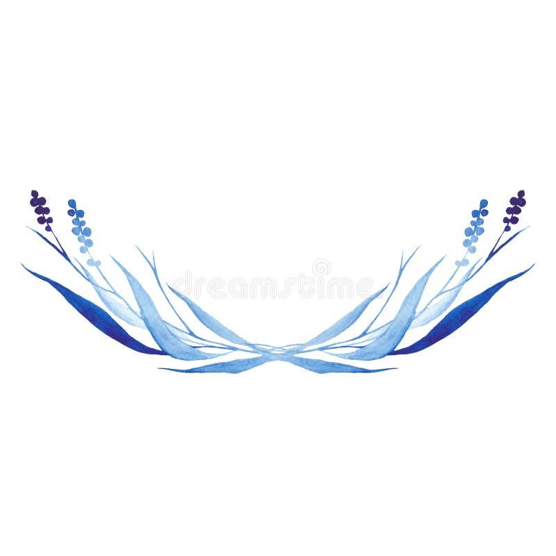 Indigo blauwe hand getrokken halve cirkel, vectorillustratie stock illustratie