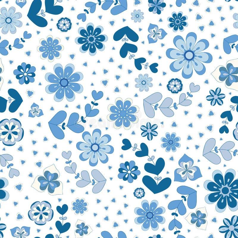 Indigo blauwe herhaalt naadloos patroon van geschetste gestileerde bloemen en bladeren Een vrij bloemen vectorontwerp in blauw en stock illustratie