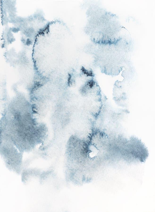 Indigo blauwe waterverf op papier stock foto's