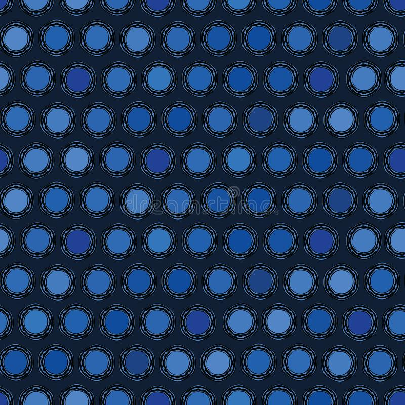 Free Indigo Blue Abstract Organic Cut Dotty Circles. Vector Pattern Seamless Background. Hand Drawn Textured Style. Polka Dot Stripes Royalty Free Stock Photography - 149816917