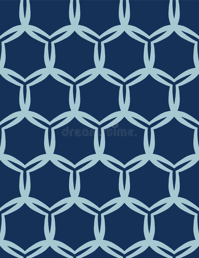 Indigo blue abstract organic cut dotty circles. Vector pattern seamless background. Hand drawn textured style. Polka dot stripes royalty free illustration