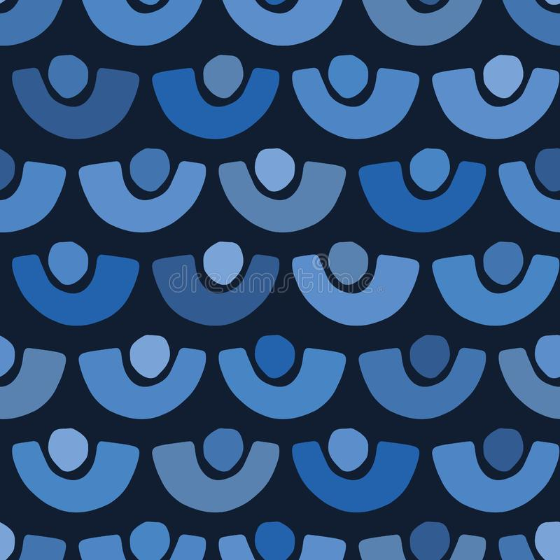 Indigo blue abstract paper cut dotty circles. Vector pattern seamless background. Hand drawn textured style. Half dot stripes royalty free illustration