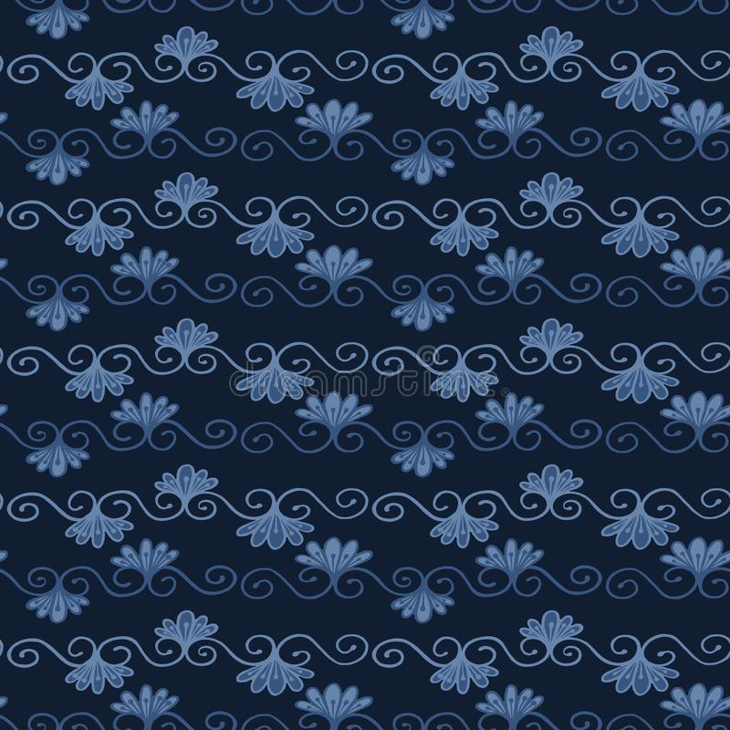 Indigo blue dye flower damask pattern. Seamless repeating flourish scroll royalty free illustration
