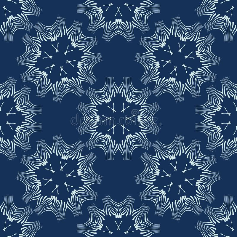Indigo Blue Floral Seamless Vector Pattern. Hand Drawn Japanese Style Shibori. Dye Textile Illustration for Fashion Prints, Stationery, Craft Packaging, Minimal vector illustration