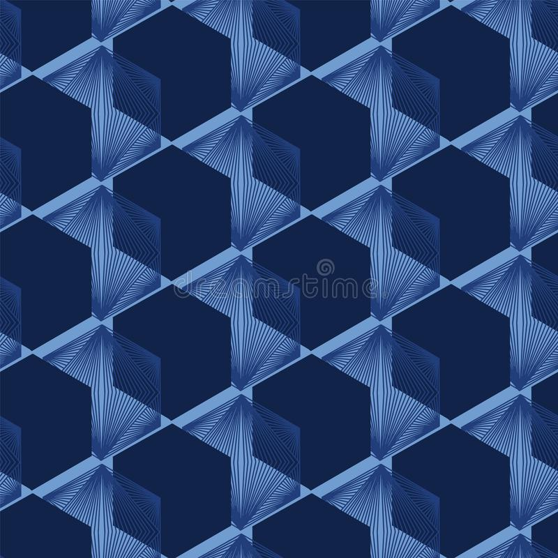 Modern indigo blue geometric hand drawn 3d cube pattern. Repeating abstract background. Ornamental monochrome geo stock illustration