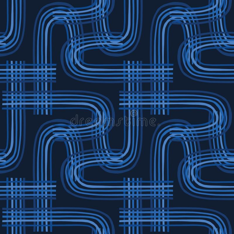Indigo blue graphic abstract curve seamless pattern. Modern geometric circuit vector illustration. vector illustration