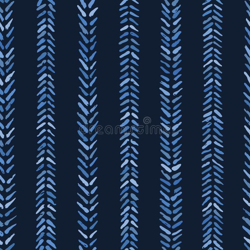 Indigo blue graphic herringbone stitch seamless pattern. Modern chevron stripes vector illustration. vector illustration