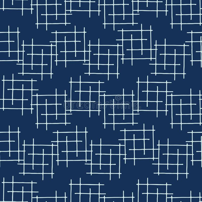 Indigo Blue Japanese Style Criss Cross Lines Seamless Vector Pattern vector illustration