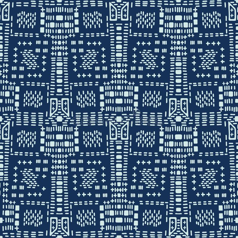 Indigo Blue Japanese Style Stitch Lines Seamless Vector Pattern. Hand Drawn vector illustration