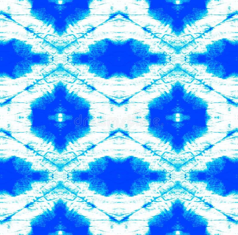Tie Dye Pattern. Indigo and Blue Shibori seamless print. Watercolor hand drawn batik. Summer ink japan illustration. Handmade watercolour shirt tie dye pattern royalty free illustration