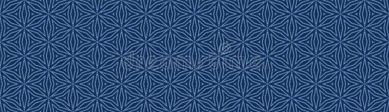 Indigo Blue Star Kaleidoscope Border Texture Background. Geometric Vector Seamless Pattern. For Dyed Handmade Japanese vector illustration