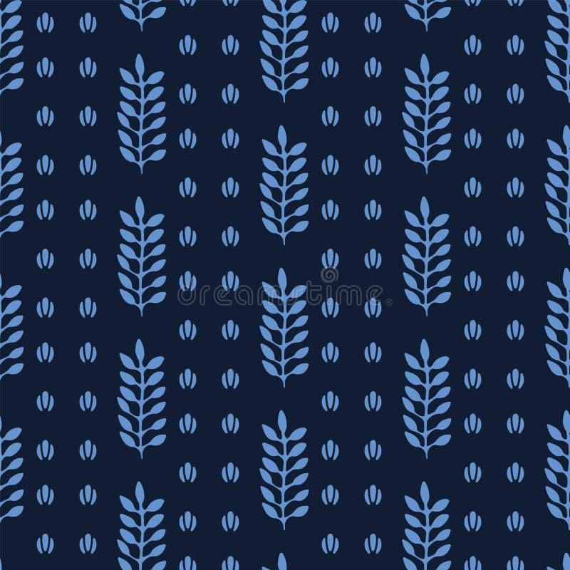 Indigo blue stylized ethnic leaf pattern. Folk art nature carved block textiles background. Japanese dye style monochrome home stock illustration
