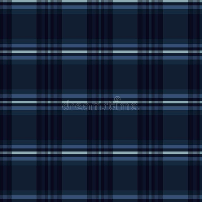 Indigo Blue Tartan Stripes Seamless Vector Pattern. Chequered Woven royalty free illustration