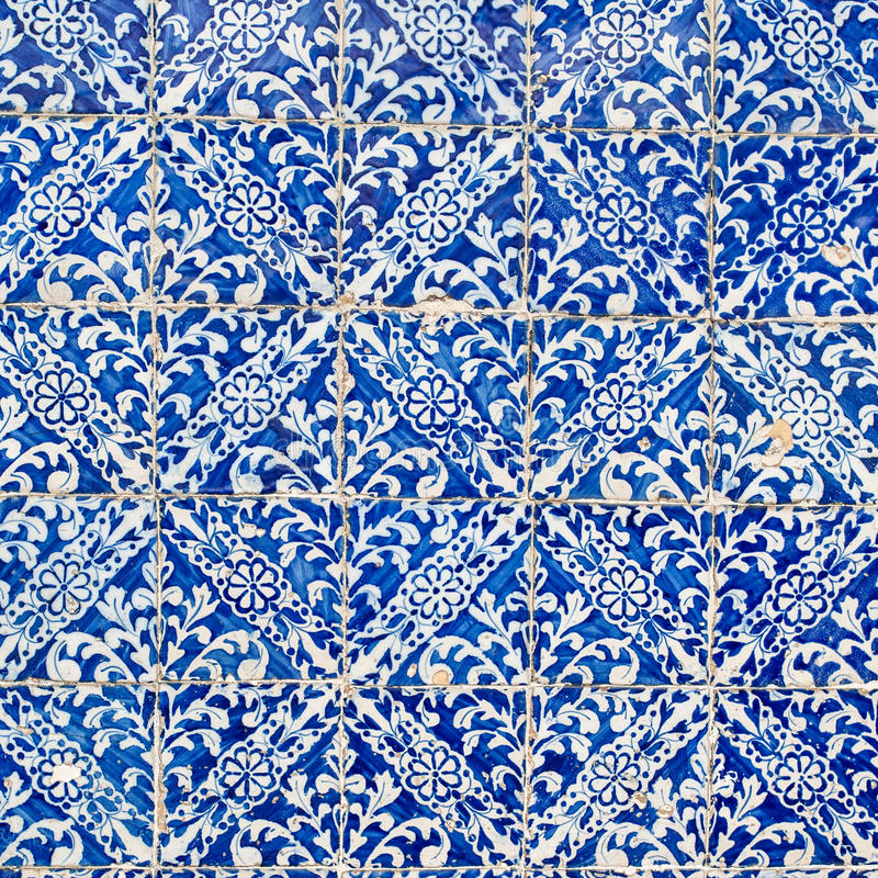 Indigo Blue Tiles Floor Ornament Collection. Colorful Moroccan, royalty free stock image