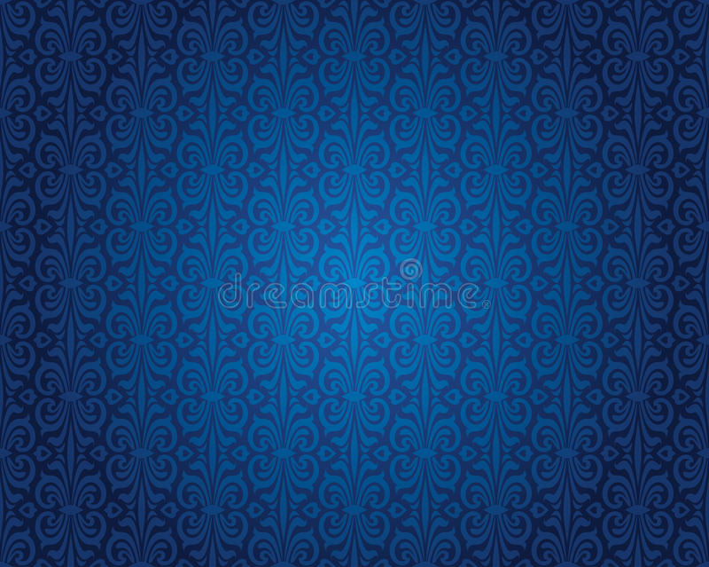 Indigo Blue Vintage Wallpaper Background Pattern Design ...