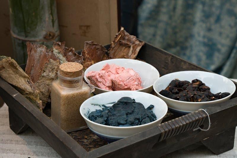Indigo dye pigment. Basket of indigo dye pigment stock photography