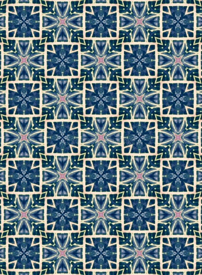 Indigo geometrisch patroon in combinatie met wit en lichtroze, geschikt als een monster van textiel, tegels, behangselpapier, web royalty-vrije stock foto