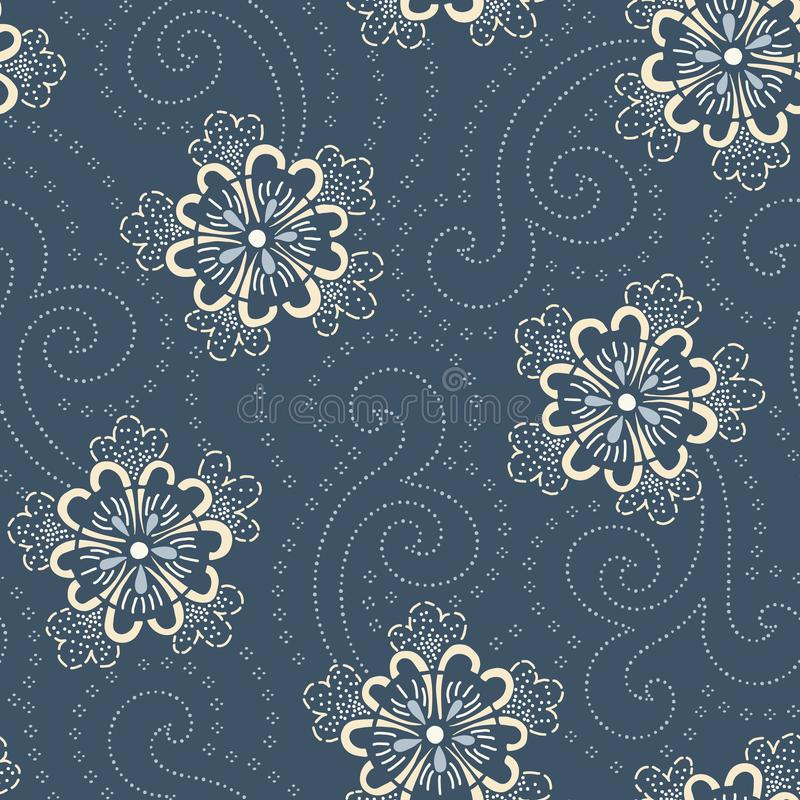 Indigo Hand-Drawn Japanese Floral Vector Seamless Pattern. Traditional Katazome Katagami Style Blooms vector illustration