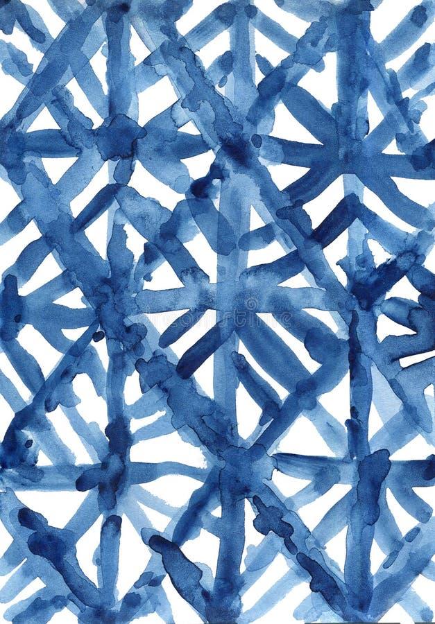 Indigo navy blue pattern abstract grunge and splash watercolor beautiful shibori tie dye paint Texture decoration on white. Background hand drawn royalty free stock photo