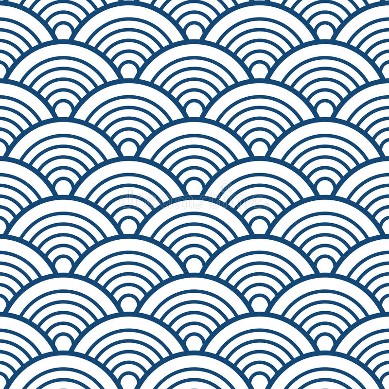 Indigo Navy Blue Traditional Wave Japanese Chinese Seigaiha Pattern Background vector illustration