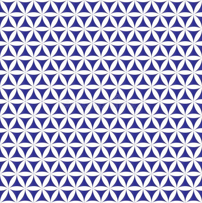 Indigo seamless flower of life pattern - sacred geometry background - most magical pattern on the world vector illustration