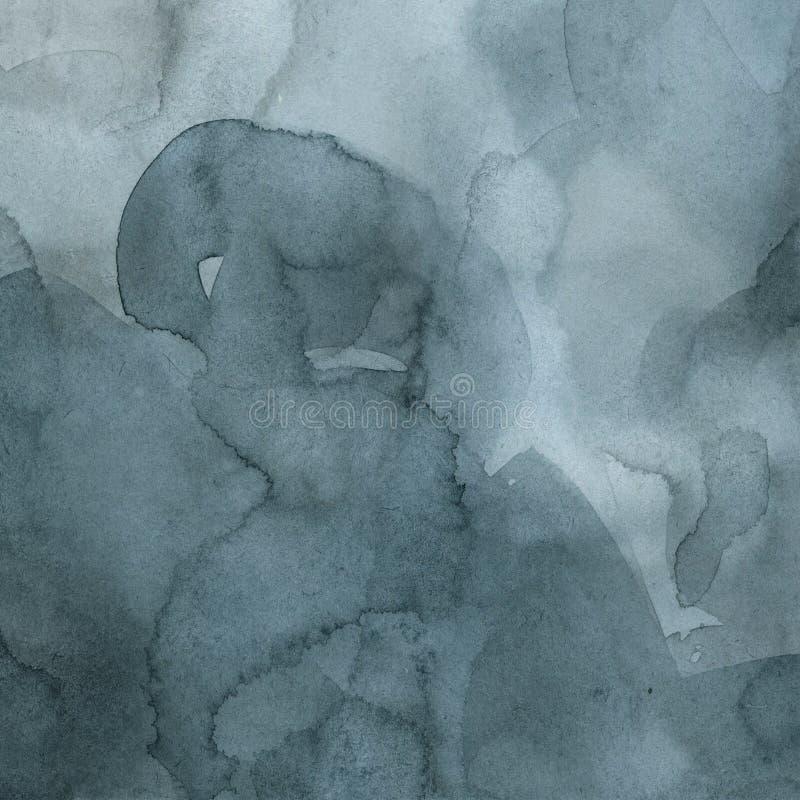 Indigo und blauer Aquarell Zusammenfassungshintergrund, handgemalte Beschaffenheit, Tropfen der Farbe, stock abbildung
