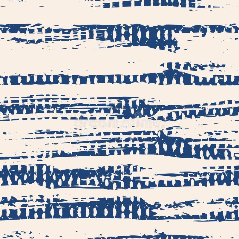 Indigo vector tie dye seamless pattern. stock illustration