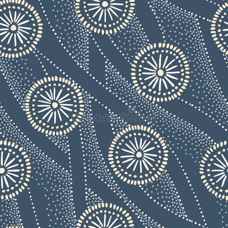 Indigo-von Hand gezeichnete japanische Kreise und Wellen-Vektor-nahtloses Muster Traditionelle Zusammenfassung Katazome Katagami  stock abbildung