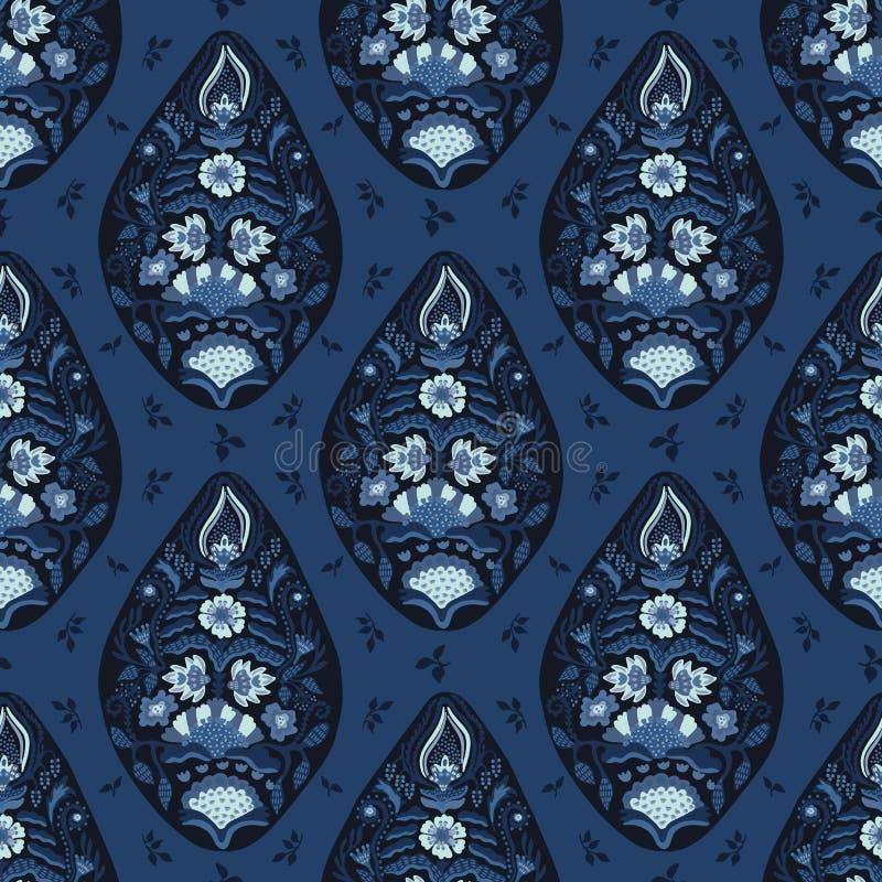 Indigoblå blå paisley för utdragen arabesque för hand blom- damast illustration stock illustrationer